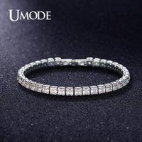 UMODE 2019 New 4mm 5mm 6mm Rund Quadrat-Kristall Tennis-Armband für Frauen-Männer weißes Gold Lange Kette Box Schmuck AUB0178AX