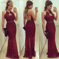 Burgundy Lace Evening Dress Long 2019 Mermaid Party Dresses ...