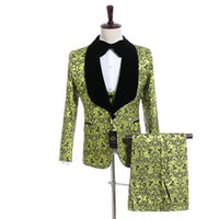 Custom Made Groomsmen Shawl Black Lapel Groom Tuxedos Lime Green Pattern Trajes de boda / Prom Best Man (Jacket + Pants + Vest + Tie) M957