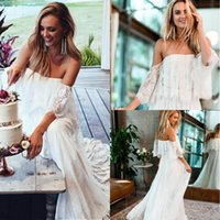 White Beach Boho Wedding Dresses 2019 Bohemian Backless A- li...