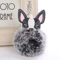 فو الأرنب الفراء الكرة الكلب pompom مفتاح سلسلة بوم بوم بورت المفتاح الموسيقي رقيق الجلود حلقة رئيسية llaveros chaveiros por حلقة رئيسية الهدايا
