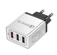 Portátil Rápido control de calidad 3.0 Cargador de pared de 3 puertos Adaptador de viaje USB de carga rápida de múltiples adaptadores de teléfono de la UE que carga para el teléfono inteligente de EE.UU.