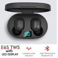 E6S TWS سماعات بلوتوث مع السلطة شاشة LED شاحن صندوق BT5.0 سماعة الرأس اللاسلكية HIFI الصوت ستيريو سماعات الأذن السيارات الاقتران المزدوج هيئة التصنيع العسكري