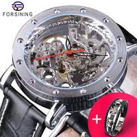 Forsining Guarda + Braccialetto Set combinazione Scheletro argento Scheletro Red Hand Black Genuine Pelle Automatic orologi automatici Uomo orologio trasparente