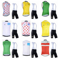 투어 드 프랑스 Ropa Ciclismo Hombre 남성 팀 사이클링 민소매 저지 조끼 조끼 턱받이 반바지 세트 최고의 브랜드 품질 레이싱 착용 H040710