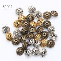 50 stücke dia.6mm tibetan metall perlen antike gold silber oval form lose spacer für schmuck machen diy armband handwerk andere