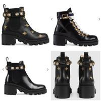 2020 nuevas botas de mujer femenina talón áspero cordón de cabeza redonda de cuero con Martin botas de invierno tobillo corta otoño flamencos Amor Flecha zapatos de cuero