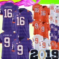 2019 NCAA Clemson Tigers 16 Trevor Lawrence Jersey Mens 9 Travis Etienne Jr. Futebol de faculdade Campeonato de vendas barato