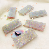 10 pezzi / lotto trasparente rhinestones vuoto custodia custodia rosa argento bling box per ciglia senza ciglia rettangolo quadrato custodia custodia