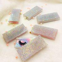 10 sztuk / partia Clear Dhinestones Pusta Case Case Różowy Silver Bling Eyelash Box bez rzęs Prostokąt Square Lash Case