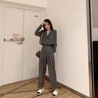 두 조각 드레스 2021 가을 한국 패션 여성 바지 슈트 짧은 우아한 블레이저 탑스 높은 허리 발목 길이 넓은 다리 바지 2 피스 세트