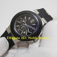 Высочайшее качество мужской черный циферблат Chrono работа по диагоны хронограф AC44TA нержавеющая сталь мужские часы кварцевые хронографские резиновые полосы часы