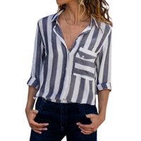 Women Blue Vertical Striped Shirt Autumn 2019 Pocket Casual ...