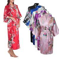 Senhoras Sexy Cetim De Seda Longo Robe Vestido de Noite Mulher Camisolas de Manga Longa Com Decote Em V Camisola Robes Camisola Sleepwear Para As Mulheres
