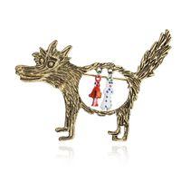 2019 New Simulierte Perlen Schmuck Große graue Wolf Rotkäppchen-nachgemachte Perlen-Schal-Halter Schal Brosche Clips Geschenk B175