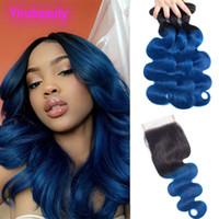 Brésil Virgin Hair Extensions 1B / Bleu Ombre du corps humain Cheveux vague 3 Bundles Avec 4X4 Dentelle Fermeture avec bébé cheveux Remy 4 Pièces 1B Bleu