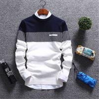 Manga larga para hombre Casual Otoño suéteres remiendo del suéter del color de cuello redondo de manga larga suéteres de hombres ocasional ropa L18100803