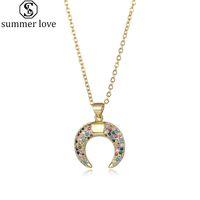 Crescent Moon Halskette Jahrgang Bunte Zirkonia Goldhalskette für Frauen 18K Gold überzogenen Kugel-Ketten-Horn-Anhänger Schmuck-Z