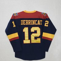 Custom CHL Men Erie Otters # 12 Alex DeBrincat Navy Hockey Jersey Vintage parches cosidos bordados