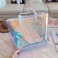 새로운 뜨거운 현혹 무지개 alma bb 쉘 가방 인쇄 핸드백 클리어 핸드백 클러치 레이저 플래시 PVC 클러치 핸드백 투명 더플 가방