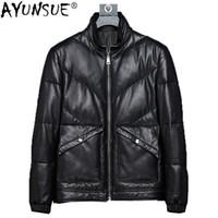 Cuir pour hommes Faux Ayunsue véritable veste véritable Hommes Canard d'hiver coréen Down Manteau de peau de mouton Court Blouson Cuir Homme KJ1376