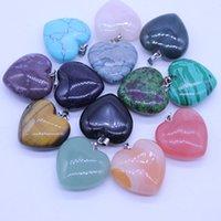 Coração natural de pedra Gemstone Pendants Polido solta pérolas prata banhado Gancho Fit pulseiras e colar Coração Moda GGA3549 Jóias