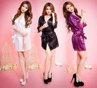 New Ice Silk Robes Womens Sexy Lingerie Underwear V-Neck Soft Solid Color Sleepewear Bathrobe Female Belt Design Robes 2020