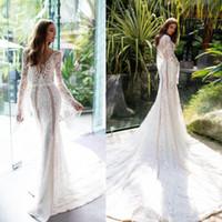 Милла Нова Русалка Свадебные платья для пляжа 2019 Кружева с длинным рукавом с скользящим шлейфом Boho Свадебные платья Плюс размер Sexy Vestido De Novia