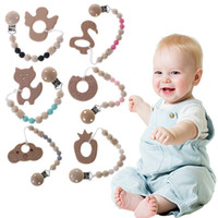 1 Satz Schnuller Clip Mit Beißring Baby Pflege Nippel Schnuller Halter Kette Holz Silikon Kinderkrankheiten Anti Fall Strap Infant Clips