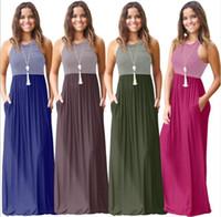 summer o neck Casual sleeveless Black-White Striped Cotton Dress Women a-line vest Dress Elegant Casual dress with pocket