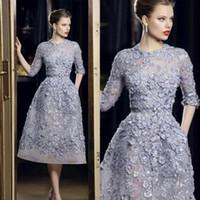 2020 하프 소매 짧은 댄스 파티 드레스 여성을위한 3D 꽃 아플리케 Organza Ellie Saab 정장 이브닝 드레스 사용자 정의