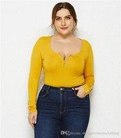 Scoop Neck Frauen Designer-T-Shirts Zipper-Knopf Langarm-T-Shirts beiläufige Art und Weise Frauen Tops Kleidung Sexy Plus Size