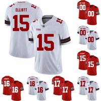 Erkekler Kadınlar Gençlik Ohio State Buckeyes # Ezekiel Elliott J.T. Barrett Joey Bosa Jerome Baker Kolej Futbolu Dikişli Formalar Beyaz Kırmızı