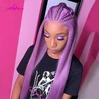 Ali Coco 150% фиолетовый человеческий парик волос бразильский реми прямой розовый / оранжевый / из булый шнурок передний парик светло-омрецки для женщин