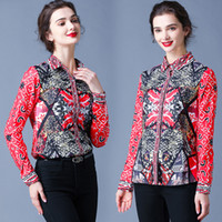 Dropshipping Wholesale Spring Summer Fall Runway Floral Print Patchwork Collar Long Sleeve Button Front Womens Ladies Casual OL Party Beach Tops Shirts Blouse