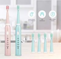 2019 Wiederaufladbare elektrische Zahnbürste Starke Schallwellen-Zahnbürste 2 Farben Optional IPX7 Wasserdichte Schallzahnbürste
