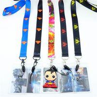 Lot noir superman de bande dessinée porte-badge d'identification de lanière porte-clés à col mobile