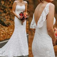 Старинные свадебные платья Русалка бретельках полный шнурок развертки Поезд Плюс Размер Wedidng мантий Для Beach Garden
