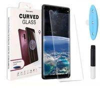 Tam Yapışkanlı Kılıf Dostu Film Temperli Cam Samsung Galaxy Not için 10 9 S9 S8 Artı Sıvı Tutkal Ekran Koruyucu ile UV Işık Prote