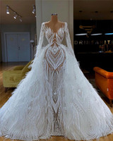 Luxury African Nigerian Lace Wedding Dresses With Detachable...