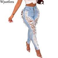 Wjustforu Sexy Ripped Jeans pour les femmes Fashion Club Casual Pantalons trou Denim Femme moulante évider Crayon long Jeans Vestidos