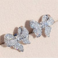 Новое прибытие Роскошные ювелирные изделия стерлингового серебра 925 Pave белый сапфир CZ Алмазный Бриллиантовые серьги лук партия Свадебные серьги стержня подарков