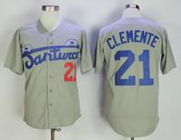 Grey Roberto Clemente Jersey N ° 21 Santurce Crabbers Porto Rico en maillot de baseball Baseballs de baseball cousu Bouton Down Down Shirt Livraison gratuite