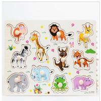Calientes animales de zoológico de Madera Jigsaw niños de los niños del bebé Aprendizaje Educativo juguete Puzzle