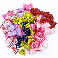 Мини Pringting ленты лук Pet Bowknot только не ЛУК НЕТ CLIPS DIY Свадебные Decor аксессуары для волос оптовой продажи 10 цветов