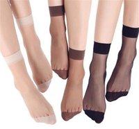 20pcs = 10 pares de verano de bambú femeninos calcetines cortos calcetines de las mujeres finas de cristal transparentes de seda chica de las medias Medias tobillo