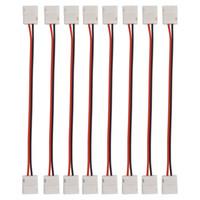 الصمام 100pcs التي 8MM 2pin موصل 10MM 2pin الصمام موصل محول الشريط قطاع لقطاع 5050 3528 لون واحد قطاع الصمام