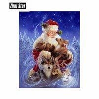 Zhui Star Diamond bordado 5D DIY diamante Pintura de Santa Claus y Animales diamante Pintura de punto de cruz del Rhinestone Mosaic00