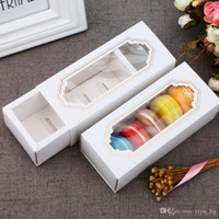 شفافة معكرون صندوق درج صندوق الشوكولاته صناديق كعكة صناديق البسكويت الأبيض ورقة مربع 14.5 * 5.5 * 5cm وعلب الهدايا