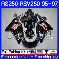 Кузов Для Aprilia RS-250 RSV250 RS250 1995 1996 1997 кузов 319HM.5 RSV250RR RS250R 95-97 RSV 250 RR RS 250 глянцевый черный 95 96 97 Обтекатель